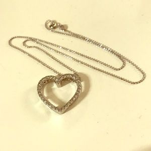 Silver heart pendant with crystal embellishments